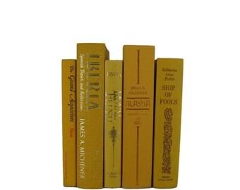 Yellow Decorative Books , Yellow  Vintage Books , Home Decor , Old Books ,  Photo Prop , Table Setting , Wedding Decor