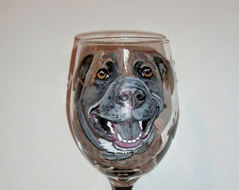 Pit Bull One 20 oz. Hand Painted Wine Glass Personalized Pet Dog Cat Horse Rabbit Pet Lover Memorial Gift Paw Prints