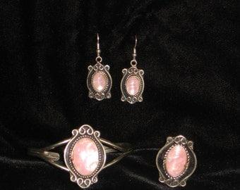 Peruvian Opal Bracelet, Earrings, Ring Set, Hand Made Peruvian Jewelry