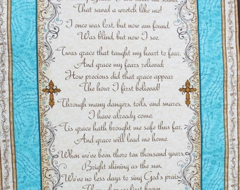 Scripture Wall Hanging, Amazing Grace song, fabric from Quilting Treasures