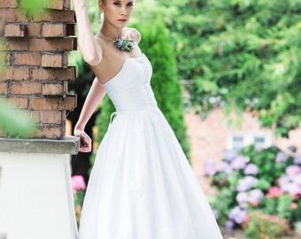 Eyelet Wedding Dress, Tea Length or Short, JULEP, White Cotton