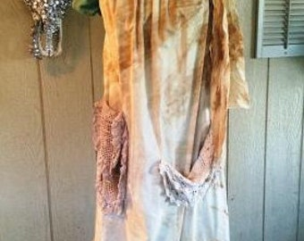 Sleeveless Dress Shabby Chic Ruffle Magnolia Mori Prairie Pearl Pillowcase Women's Lagen