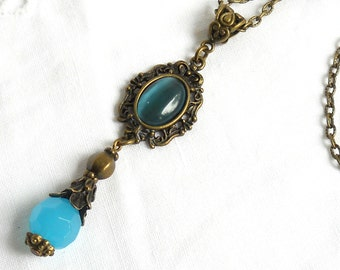 victorian pendant necklace victorian necklace turquoise necklace victorian jewelry turquoise pendant necklace turquoise necklace