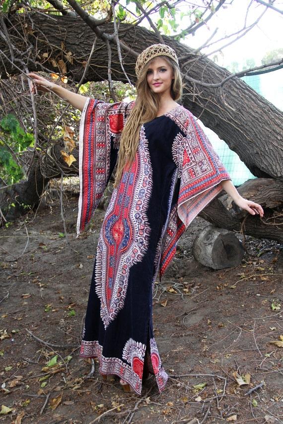 Dress Vintage 60s Kaftan Dress ANGEL Long Sleeves in DASHIKI Paisley Maxi //  Vintage Bohemian by TatiTati Style on Etsy