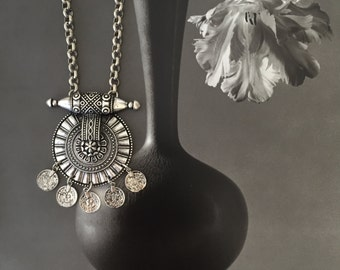 Silver Boho Necklace , Ornate Tribal Pendant , Coins Boho Necklace , Gypsy Jewelry