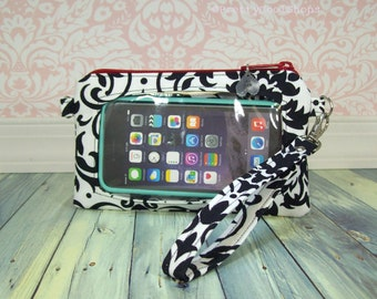 Ready to Ship • cell phone case wristlet • stadium approved bag • phone pocket • Keep in Touch Wristlet™ • black • white • damask