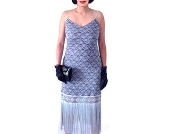 Retro 1920s Dress, Great Gatsby Dress, Flapper Dress, Flapper Costume,Roaring 20s Dress,Downton Abbey ,Silver Grey,Lace Dress, Custom Made