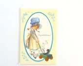 Congratulations Greeting Card with Holly Hobbie Girl and Kitty Cat by Olympicard