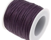 Waxed Cotton Cord : 10 yards Dark Viola Purple 1mm Waxed Cord String / Bracelet Cord / Macrame Cord / Chinese Knotting Cord  81612