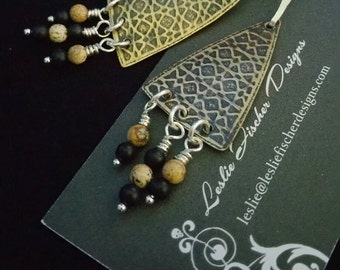 Brass Cathedral Triangle Earrings with Sandstone Jasper and Matte Onyx Dangles