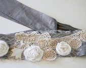 romantic boho waist belt fabric belt lace linen wide belt handmade upcycled ooak