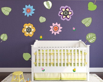 Spring Flowers Re-positionable Fabric Kids Wall Stickers - Children Playroom Peel and Stick Fabric Wall Art Kids Love - prt0071