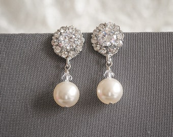 50% OFF, Bridesmaid Earrings, Wedding Earrings, Bridal Earrings, Swarovski Pearl Dangle Earrings, Crystal Flower Bridesmaid Jewelry,HELGA