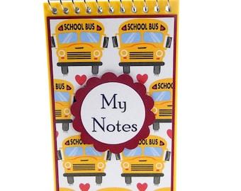 School Bus: Mini Spiral Memo Pad- 3 x 5 inches