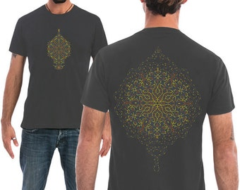 Sacred Geometry Men Shirt In Grey, Festival Shirt, Dmt ,Peyote, Psychedelic Shirt, Festival Clothing, Yoga Clothing, Seed Of Life