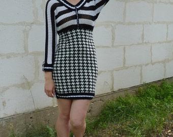 Black white dress, houndtooth dress, dogtooth dress, tunic dress, lace pattern dress, jersey dress, knit dress,  OOAK  eco friendly