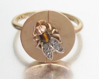 Antique Victorian Insect Diamond Winged FLY Rose Gold Ring 14K