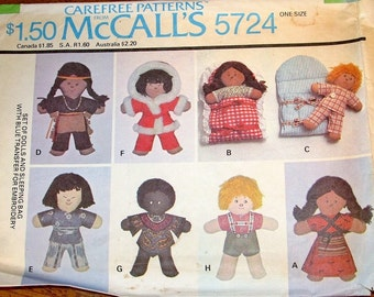 "McCalls 5724 Round the World Soft Cloth Dolls, 10"" Boy Girl with International Clothes Vintage 1970s Craft Sewing Pattern Uncut Factory Fold"