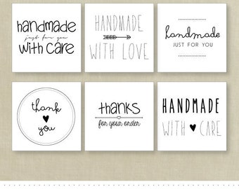 INSTANT DOWNLOAD Handmade With Love Labels - Set of 6 Designs - PRINTABLE - Tools for Etsy Sellers - Order Tags
