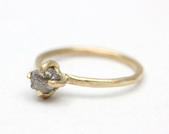 Claw set rough diamond ring in yellow gold, rustic engagement ring, raw diamond ring, alternative engagement ring, uncut diamond ring.