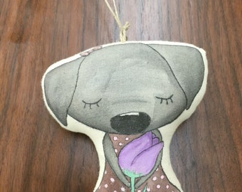 Matilda and Her Tulip-A Labrador Puppy Hand Painted Art Doll or Ornament
