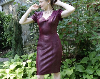 Sexy red velvet wiggle sheath dress short sleeves shiny tight Bodycon Rockabilly Pin-up Bombshell Noir Costume vintage reproduction size S