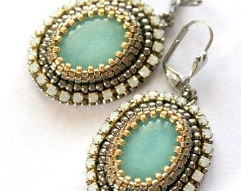 Bead Embroidered Earrings - Amazonite Treasure O.O.A.K.