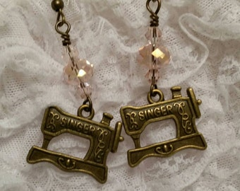 Vintage Singer Sewing Machine Earrings - Seamstress - Tailor - Craft Queen - Vintage Inspired - Swarovski Crystal - 50s Housewife - Sew Cute
