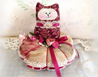 Cat Pincushion 5 inches, Burgundy Gold and Deep Rose, Decor Fabric & Cotton Fabric Primitive Cloth Doll Decoration Soft Sculpture Folk Art