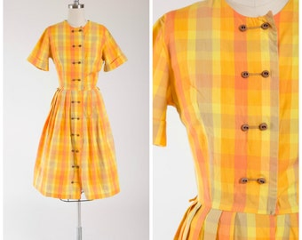 Vintage 50s Dress • Sunbeam Elation • Orange Yellow Plaid Cotton 1950s Day Dress Size Small