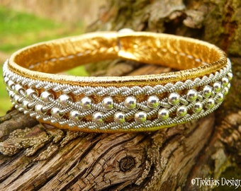 Swedish Viking Lapland Gold Leather Cuff ROSKVA Sami Bracelet with Sterling Silver Beads braided into Spun Pewter silver Wire
