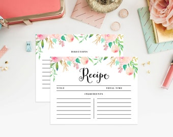 Instant Download - Spring Shower Recipe Cards