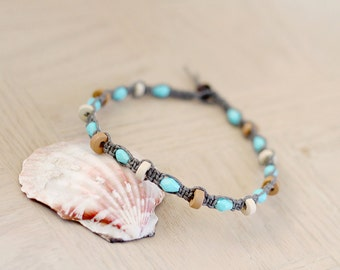 Turquoise Teardrops and Wood Discs Anklet - Hemp Anklet - Hemp Jewelry