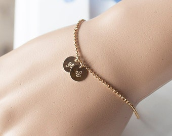 2 Initial Charms Gold Bracelet, Initial Bracelet, Dainty Gold Bracelet, Delicate Gold Bracelet, Personalized jewelry, bridesmaid gifts,