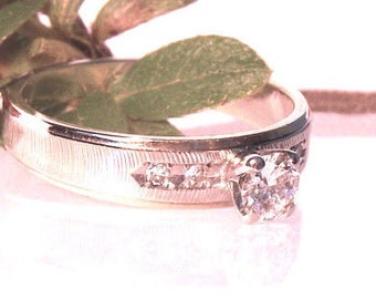Vintage 14K Diamond Solitaire Engagement Ring/ White/Yellow Gold