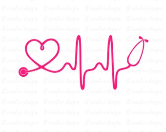 Heartbeat SVG, Nurse SVG, Doctor SVG, Healthcare Svg, Stethoscope Svg, Cricut Cut Files, ...