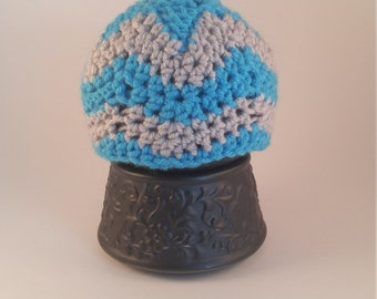 Light Blue Chevron Baby Beanie Hat