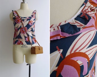 Vintage 80's Ruffle Neck Abstract Petal Print Tank Top XS