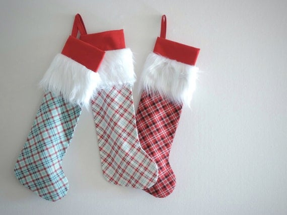 Personalized Christmas Stocking Personalized Stocking, Plaid Family Stockings, Modern Fur Cuff, Fun Long, Boys Girls, Holiday, Little Cuff