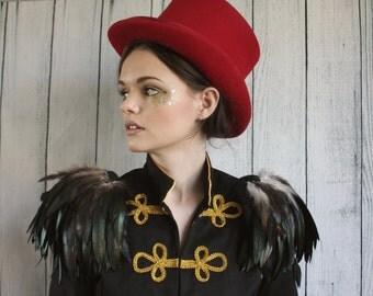 Natural  dark brown and black feather shoulder epaulette, feather wings, tribal feather shoulder pieces