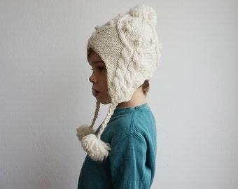 Knit hat kid earflat, Childrens pom pom wool hat, Lined Undyed organic Merino wool, Back to school Winter Beanie, kids gifts black friday