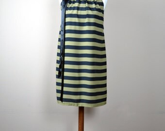Striped halter dress, striped dress, tunic dress, summer dress, women's clothing, mini dress, black green dress, romantic dress,modern dress