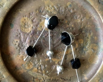 Vintage 1980's Mexican Black Onyx and Sterling Silver Earrings, Mexican 925 Jewelry, Mod, Boho
