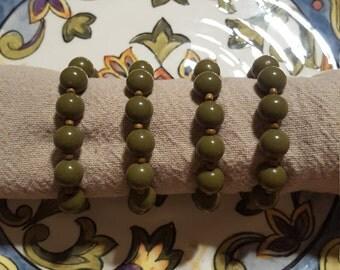 Green Beaded Napkin Rings, Set of 4 Napkin Rings