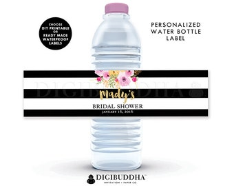 WATER BOTTLE LABELS Bridal Shower Water Bottle Labels Baby Shower Water Bottle Labels Birthday Labels Printable or Waterproof Labels - Mady