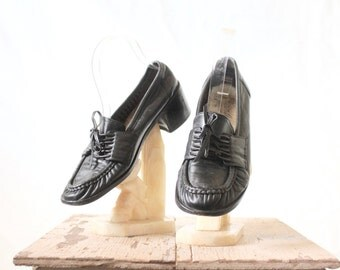 Vintage 70's Black Leather Loafers Sz 7/7.5