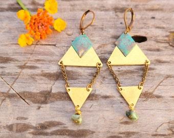 Boho Triangle Earrings with Turquoise