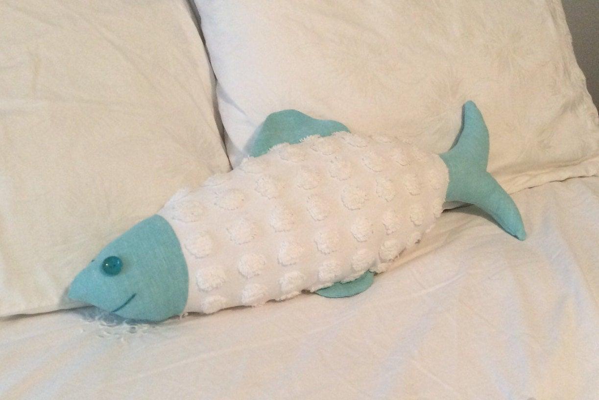 Fish pillow aqua linen and chenille fish by tatortotsdesigns for Fish shaped pillow