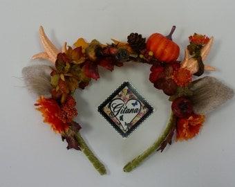 Autumn Antler Headband- lolita Headband- Mori Kei-Lolita Assessories-Halloween-Fall- Horn- Deer