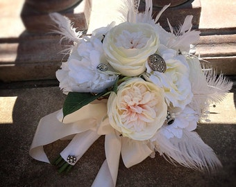 Vintage Elegance Silk Bridal Bouquet in Shades of White, Ivory & Blush - Ostrich Feathers, Roses, Peonies, Rhinestone Brooch Bouquet Accents